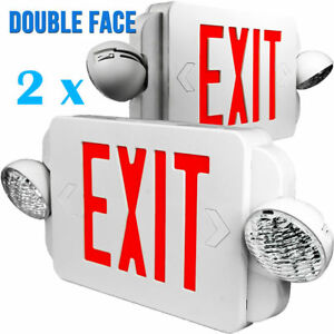 2x Led Exit Sign Emergency Light High Output Red Compact Combo Ul El2br