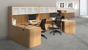 2 Person Laminate Workstation Office Furniture Desk In Autumn Walnut Finish