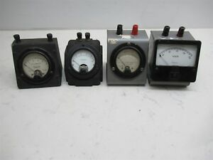 Lot Of 4 Vintage Lab Amp Meters Triplet 321 Dc Weston 301 475 Ac Simpson Panel