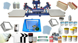 Techtongda Silk Screen Printing Kit 4 Color 2 Station Screen Printing Press