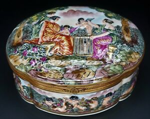 Early Antique Capodimonte Porcelain Table Boudoir Jewelry Box Gorgeous