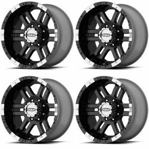 Set 4 16 Moto Metal Mo951 Black Machined Wheels 16x8 6x5 5 0mm Chevy Gmc 6 Lug