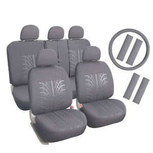 Auto Seat Covers Set Grey Steering Wheel Cover Seat Shoulder Pad