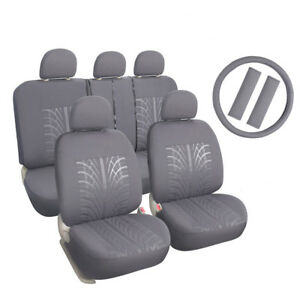 Auto Seat Covers Full Set Front Low Back Buckets Rear Split Bench Grey