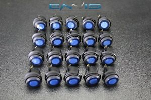 20 Pcs Rocker Switch On Off Blue Toggle Led 12v 16 Amp 3 Pin Is ec wp1216blu