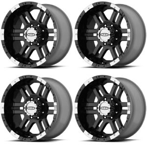 Set 4 18 Moto Metal Mo951 Black Machined Wheels 18x9 6x5 5 18mm Chevy Gmc 6 Lug