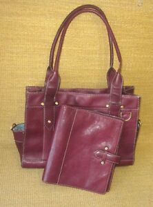 Classic 1 25 Rings Burgundy Leather Aurora Franklin Covey Planner W Tote