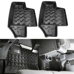 2pcs Rubber Rear Row Floor Mats Liner Carpets For 2007 2017 Jeep Wrangler Jk 2dr