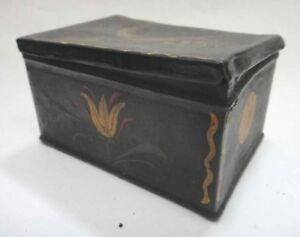 18c Antique Early Pa Dutch Folk Art Paint Tin Box Tulip Bird Tole Aafa Lancaster