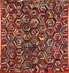 Dazzling Vintage 20 S Wool Honeycomb Spider Web Stars Antique Quilt Nice Red
