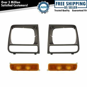 Headlight Lamp Bezel Black Parking Marker Light For 97 01 Jeep Cherokee Xj New