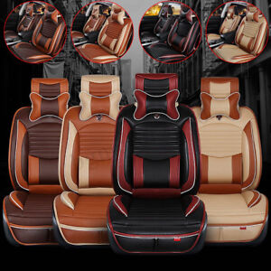 Deluxe Us 5 Seats Car Pu Leather comfort Mesh Seat Covers Front Rear Pillows