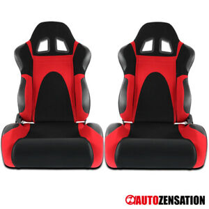 Left Right Black Red Faux Suede Pvc Leather Type 6 Sport Racing Seats Pair