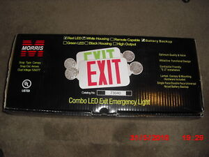 Morris Products 73040 Combo Led Exit Emergency Light Standard Type Red Led