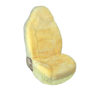 Universal High Back Bucket Seat Covers Sheepskin Champagne For Car Truck Suv