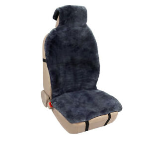 Charcoal Genuine Sheepskin Front Seat Cushion Covers Universal For Cars Truck