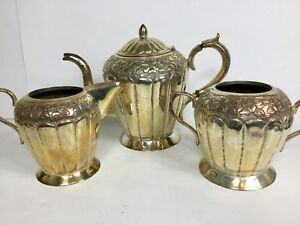 Vintage Mexican Silver Over Copper Repousse 3 Piece Coffee Set