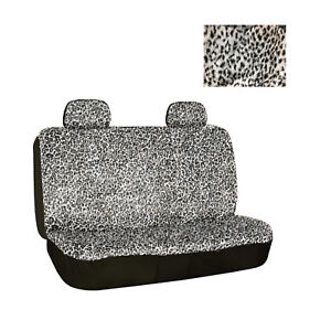 Universal Fit Rear Bench Car Seat Cover 3 Piece Snow Grey Leopard Print