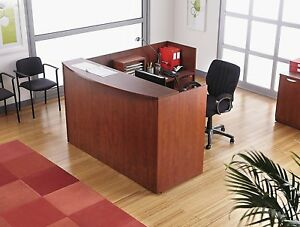 Reversible L Shape Laminate Office Furniture Reception Desk Medium Cherry Finish