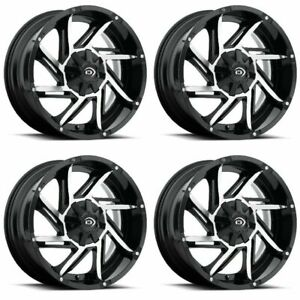 Set 4 17 Vision 422 Prowler Black Machined Wheels 17x9 6x5 5 12mm Chevy 6 Lug