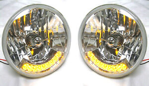 Street Hot Rod 7 H4 Headlights W 9 Amber Led Turn Signals Pair 12v Heavy Duty