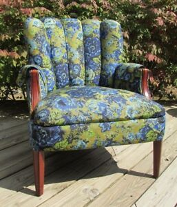 Vintage Mid Century Arm Chair Upholstered M2