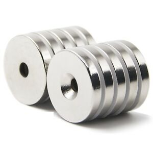 25 50 Strong Countersunk Ring Magnets 3 4 X1 8 Hole 3mm Rare Earth Neodymium
