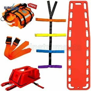 Orange Emt Backboard Spine Board Stretcher Immobilization Kit Free Trauma Bag