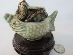 Lovely Chinese Porcelain Fish Snake Brush Washer