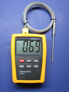 Digital K type Thermometer W High Temperature Stainless Steel Sensor Probe 68ht2