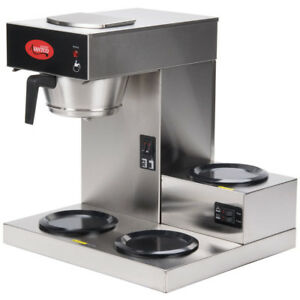 Avantco Pourover Commercial Coffee Maker Restaurant Stainless Steel 3 Warmers