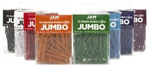 Jam Paper Colored Jumbo Paper Clips Large 2 Assorted Paperclips 10 pack
