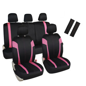 Pink Black Car Seat Covers Set 5 Headrests 60 40 Split Bench For Auto Suv