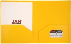 Jam Paper Heavy Duty Plastic Two Pocket Presentation Folders Yellow 108 pack