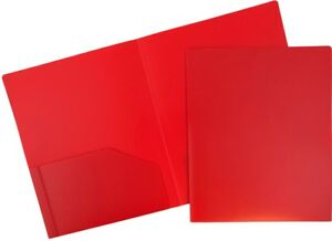 Jam Paper Heavy Duty Plastic Two Pocket Presentation Folders Red 108 pack