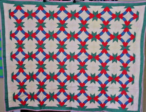 Amazing Antique Swag Star Wedding Ring Quilt Sale In R Store