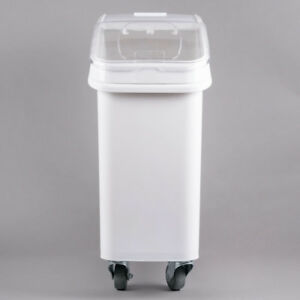 Set Of 3 Bulk Dry Ingredient 21 Gallon Mobile Storage Bins Commercial Kitchen
