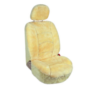 Champagne Genuine Sheepskin Car Front Seat Protector Cover Low Back