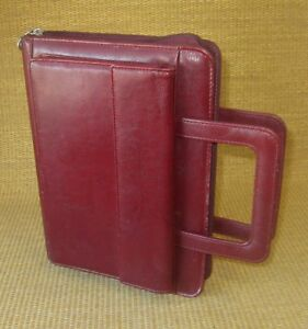 Classic 1 Rings Burgundy Sim Leather Franklin Covey Planner binder Handles