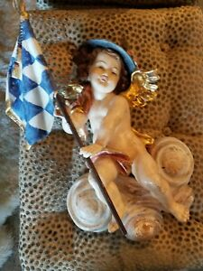 Vintage German Carved Wooden Angel With Checkered Flag