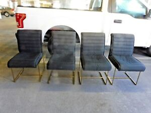 4 1970 S Labeled Directional Milo Baughman Dining Chairs W Channeled Upholstery