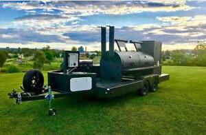 Custom Built Bbq Pit Charcoal Grill Smoker Concession Trailer 35 Tandem Axle
