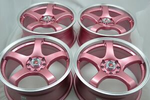 17 Pink Rims Wheels Tires Cooper Civic Miata Corolla Accord Cobalt 4x100 4x114 3