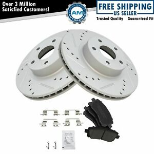 Front Performance Drilled Slotted Brake Rotor Posi Ceramic Pad Set
