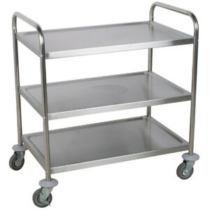 Utility Cart Stainless Steel Kitchen Rolling 3 Tier Shelves Storage Bussing Rack