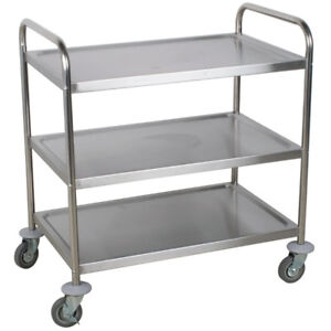2 Set Utility Carts Stainless Steel Kitchen Rolling 3 Tier Shelves Bussing Racks