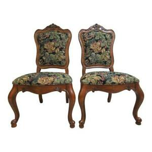 Pair Ethan Allen Tuscany French Carved Dining Room Side Chairs B