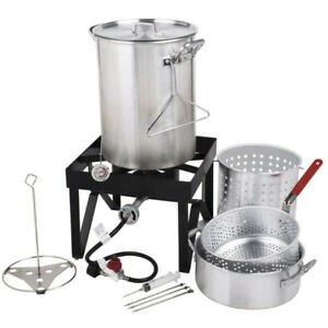 Backyard Pro 30 Qt Deluxe Aluminum Turkey Deep Fryer Kit Steamer Pot Propane