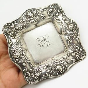 Antique Gorham 925 Sterling Silver Rose Floral Square Butter Pat Candy Dish