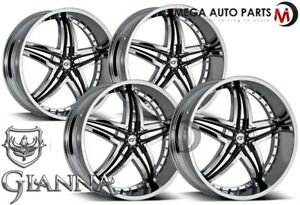 4 X Gianna Blitz 24x10 5x115 12 Offset 73 1 Hub Chrome Wheels Rims